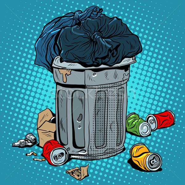 мусор олово экология рециркуляции Поп-арт ретро-стиле Сток-фото © studiostoks