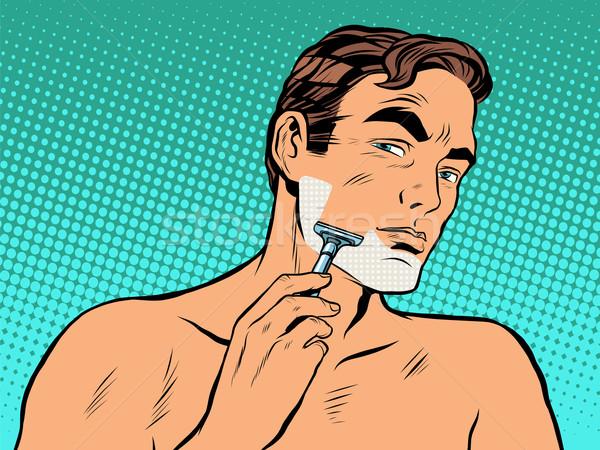 Adam köpük pop art retro tarzı kişisel temizlik sabah Stok fotoğraf © studiostoks