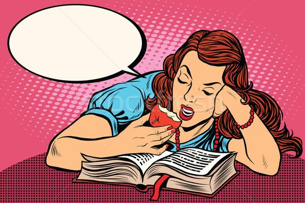 Сток-фото: женщину · чтение · книга · еды · яблоко · Поп-арт