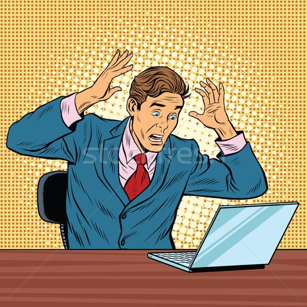ビジネスマン パニック 読む ノートブック ポップアート レトロな ストックフォト © studiostoks