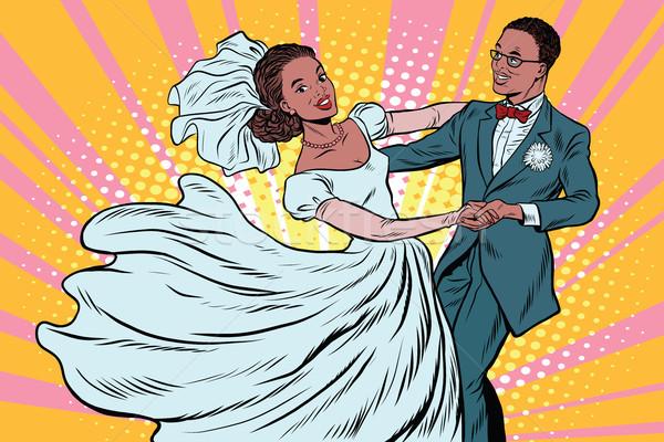 Düğün dans gelin damat pop art Retro Stok fotoğraf © studiostoks