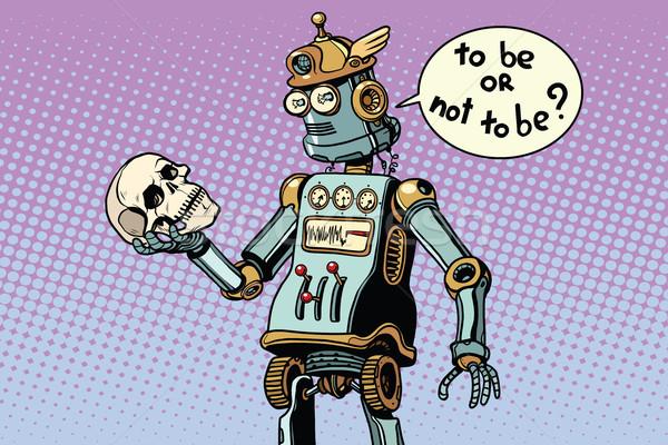 Robotlar insanlık sahne pop art Retro bilgisayar Stok fotoğraf © studiostoks