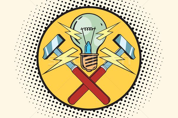 The symbol of light and hammers, home repairs Stock photo © studiostoks