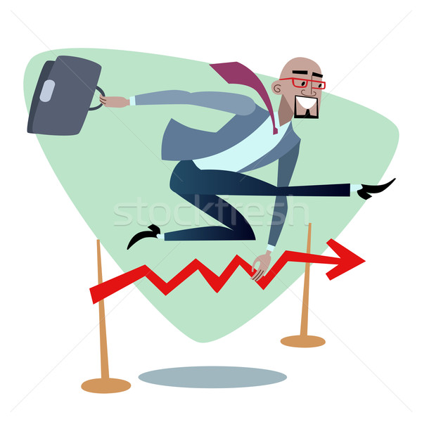African businessman jumps schedule sales is like a barrier in ru Stock photo © studiostoks