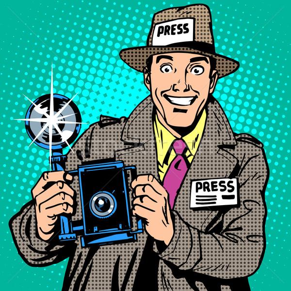 Photographer paparazzi at work press media camera. The reporter  Stock photo © studiostoks