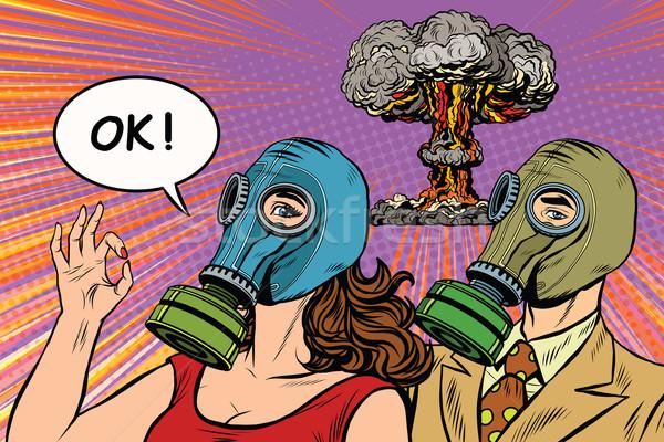 ядерной войны ретро Поп-арт плакат военных Сток-фото © studiostoks