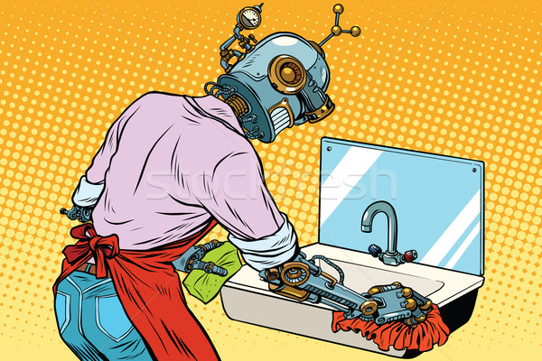 Home cleaning washing kitchen sinks, robot works Stock photo © studiostoks