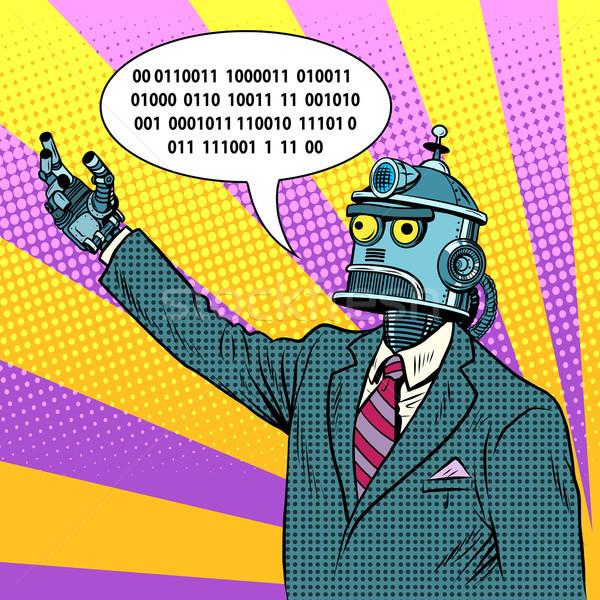 Roboter Führer Politiker Pop-Art Retro-Stil funny Stock foto © studiostoks