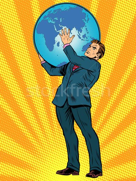 Biznesmen atlas ziemi plecy pop art w stylu retro Zdjęcia stock © studiostoks