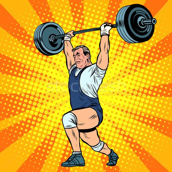Gewichtheffen gewichtheffer bar pop art retro-stijl zomer Stockfoto © studiostoks