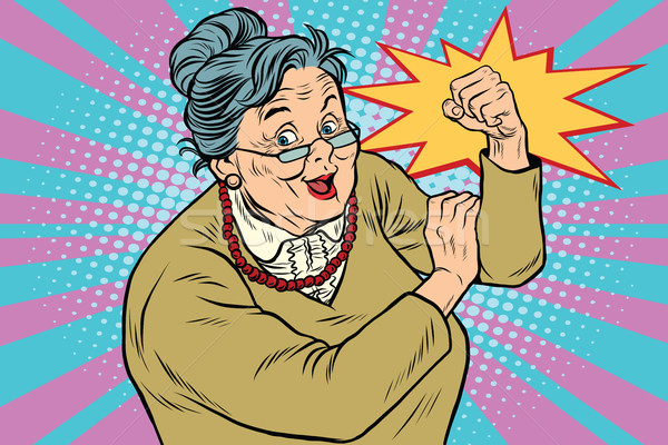 Granny old lady We can do it Stock photo © studiostoks