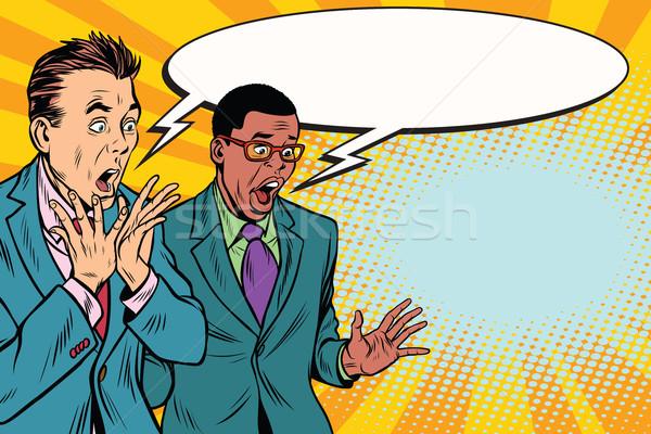Stock photo: two businessmen shocked, multi-ethnic group