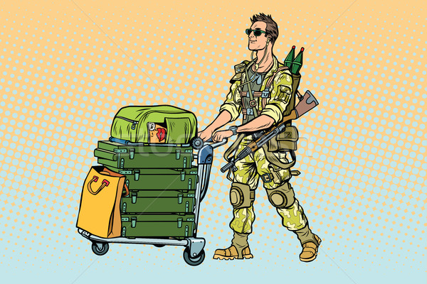 Military tourism, the mercenary with a Luggage Stock photo © studiostoks