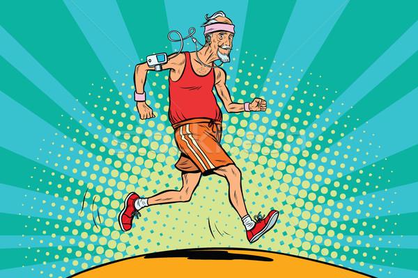Idős férfi futó egészséges életmód pop art retro természet Stock fotó © studiostoks