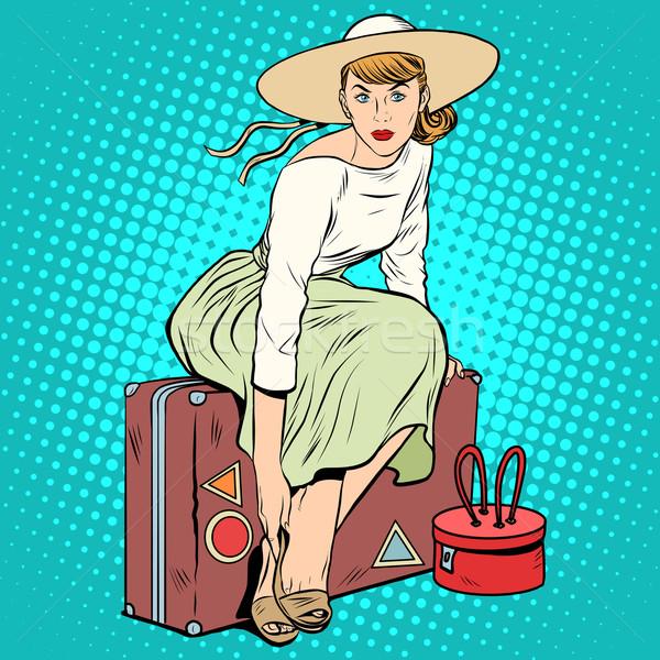 The girl passenger Luggage Stock photo © studiostoks