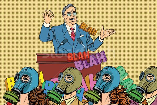 Retro politiek kandidaat hygiëne pop art vector Stockfoto © studiostoks