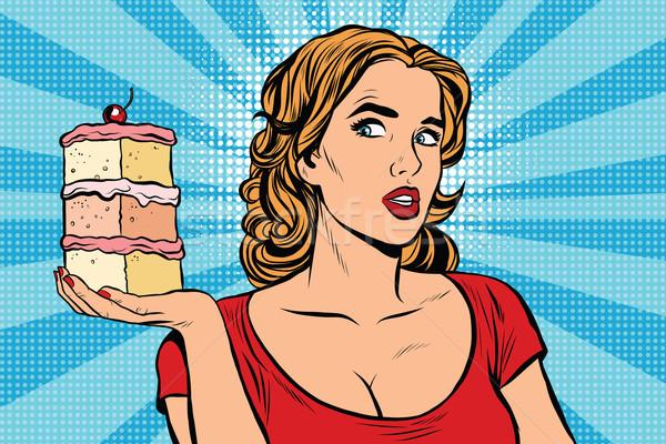 Pop art fille régime alimentaire gâteau rétro vecteur Photo stock © studiostoks