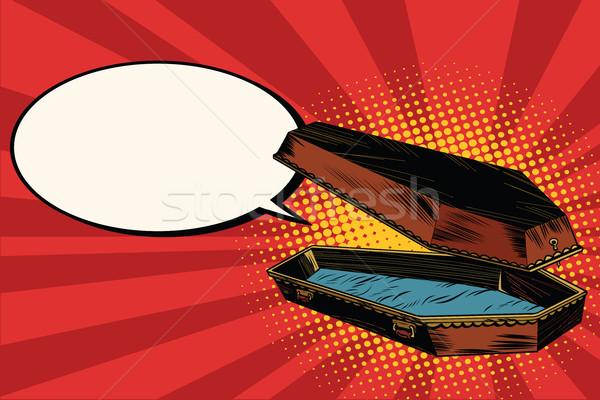 Wooden coffin says comic bubble Stock photo © studiostoks