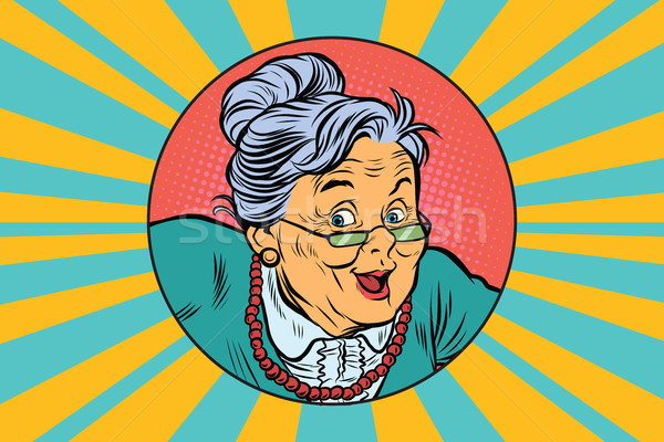 joyful intelligent grandmother pop art Stock photo © studiostoks
