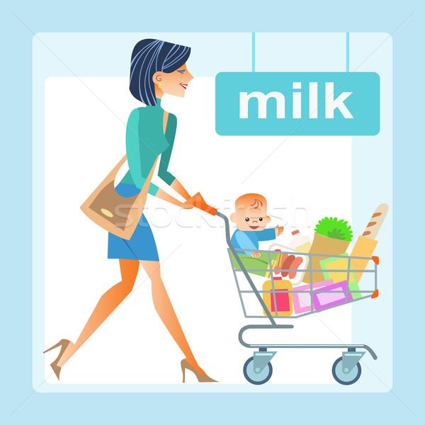 mom hopping cart baby store Stock photo © studiostoks