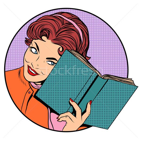 Stockfoto: Vrouw · boek · pop · art · retro-stijl · literatuur · lezing