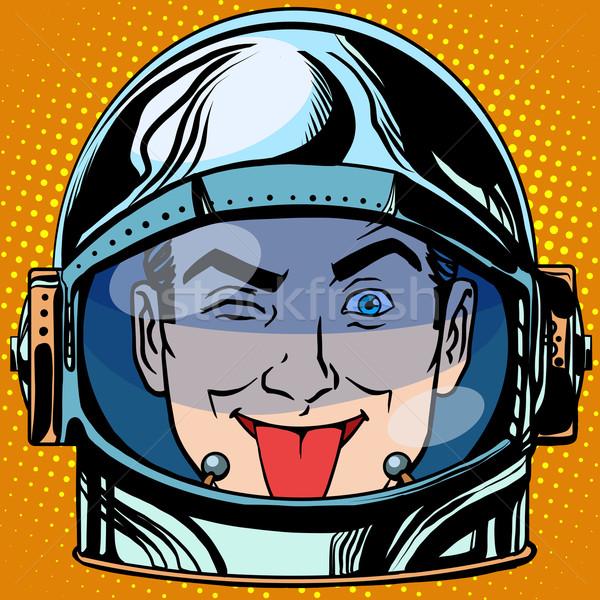 顔文字 舌 顔 男 宇宙飛行士 レトロな ストックフォト © studiostoks