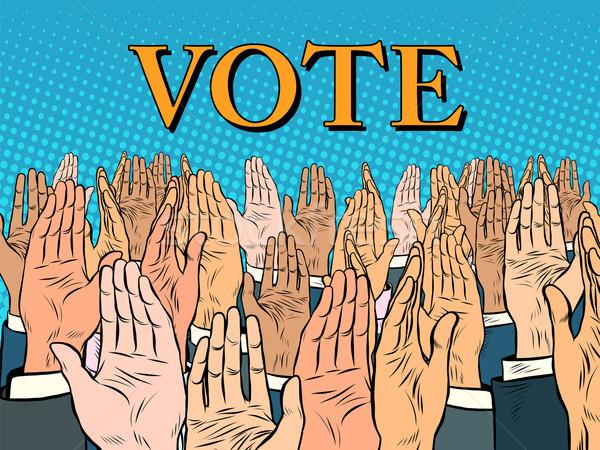 Kezek magasban szavazás jelölt pop art retró stílus politika Stock fotó © studiostoks