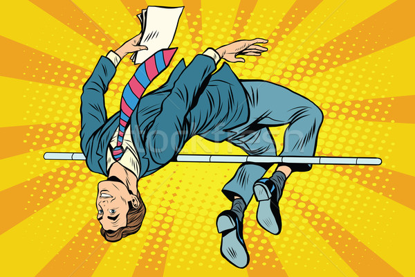 Zakenman hoogspringen pop art retro-stijl sport business Stockfoto © studiostoks