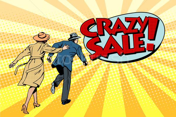 Crazy продажи супер Поп-арт ретро-стиле семьи Сток-фото © studiostoks
