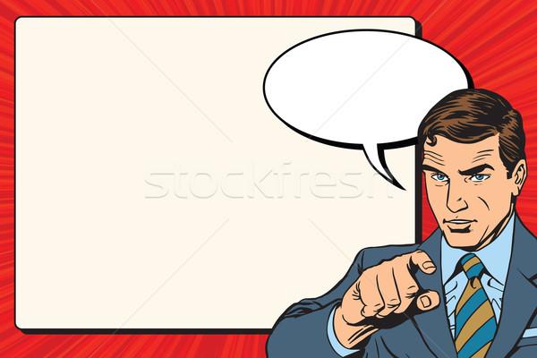 Foto stock: Empresário · retro · cartaz · vetor · homem