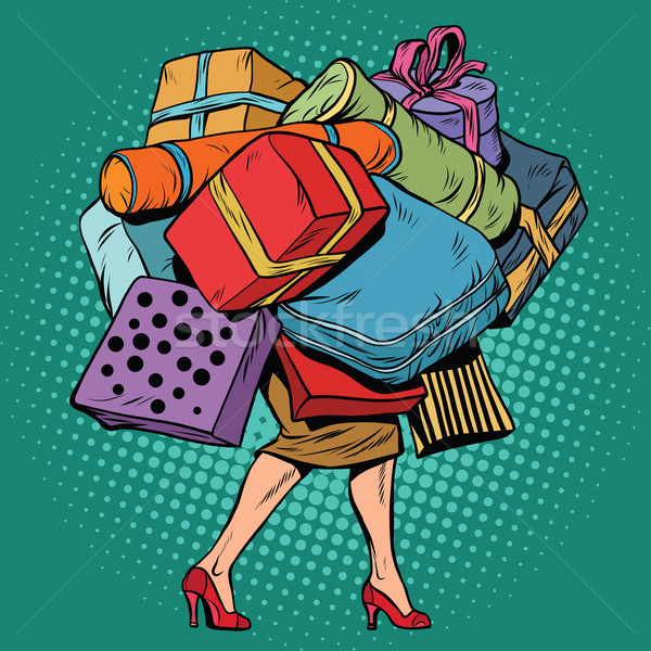 Woman and a lot of holiday shopping, sales discounts Stock photo © studiostoks