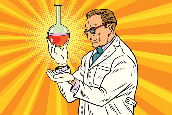 Tudós vegyész laboratórium flaska pop art retro Stock fotó © studiostoks