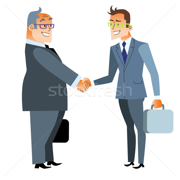 Affaires handshake face Finance contrat deux hommes Photo stock © studiostoks