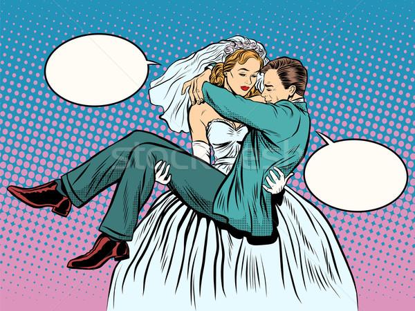 Esküvő menyasszony vőlegény karok pop art retró stílus Stock fotó © studiostoks