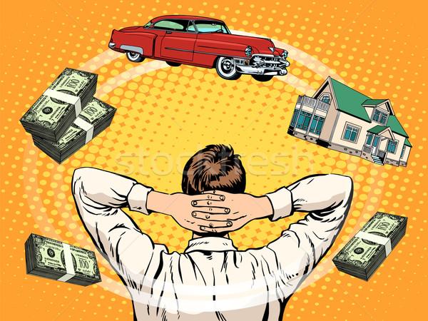 Business dromen koper home auto inkomen Stockfoto © studiostoks