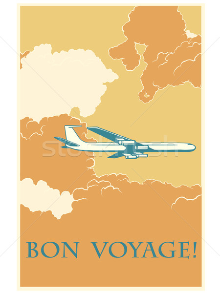 Retro airplane Bon voyage Stock photo © studiostoks