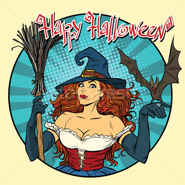 Happy Halloween beautiful witch and bat Stock photo © studiostoks