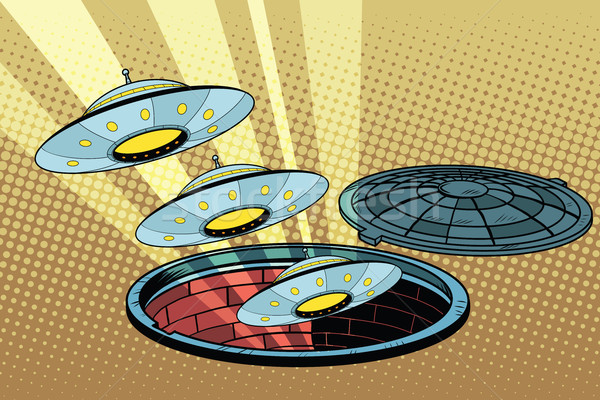 UFOs fly out of the sewers Stock photo © studiostoks
