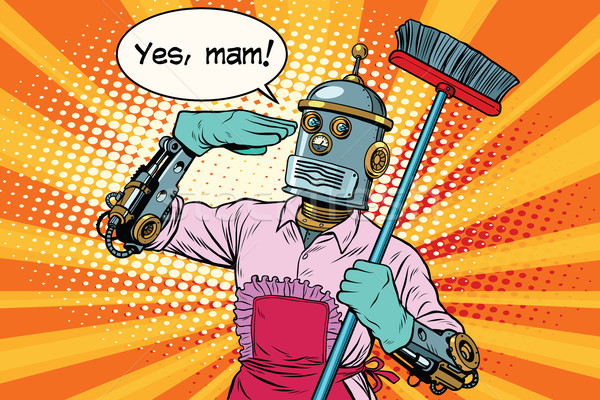 yes mam Robot and cleaning the house Stock photo © studiostoks