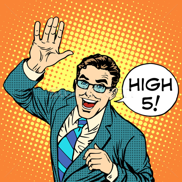 High five joyful businessman Stock photo © studiostoks