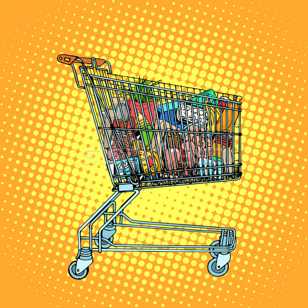 Grocery cart with food Stock photo © studiostoks