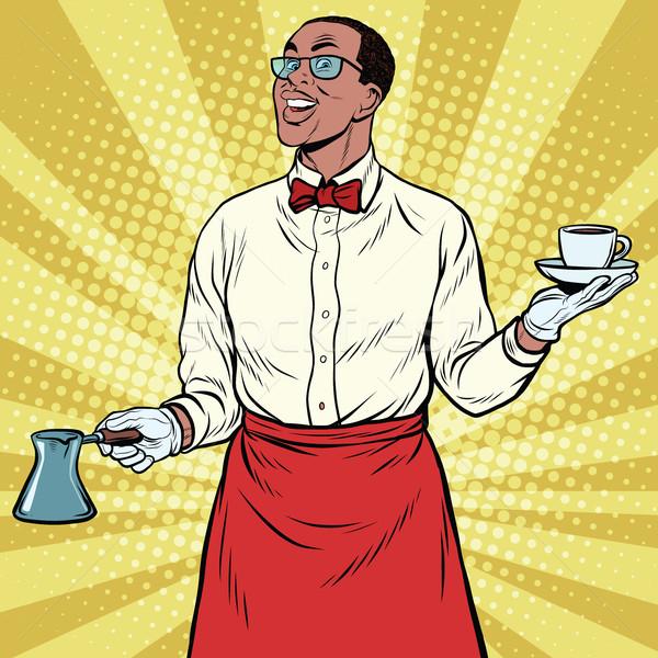 Africano americano barista terreno café Foto stock © studiostoks
