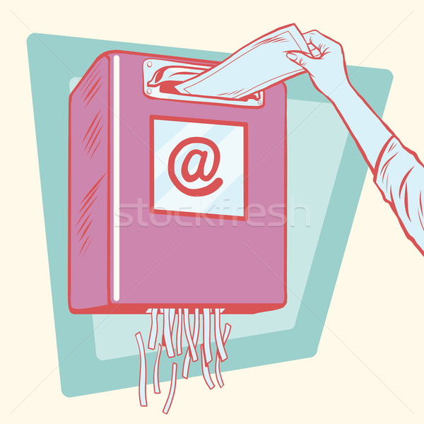 Spam mailbox papier shredder pop art retro Stockfoto © studiostoks