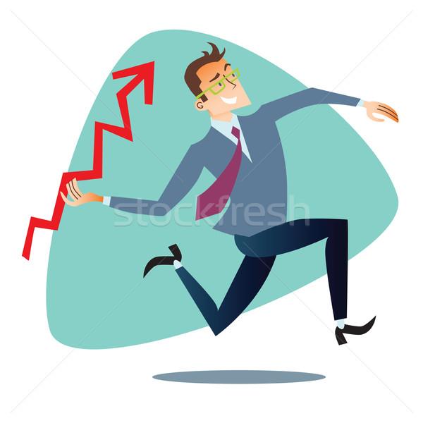 Zakenman omhoog schema verkoop zoals speer Stockfoto © studiostoks