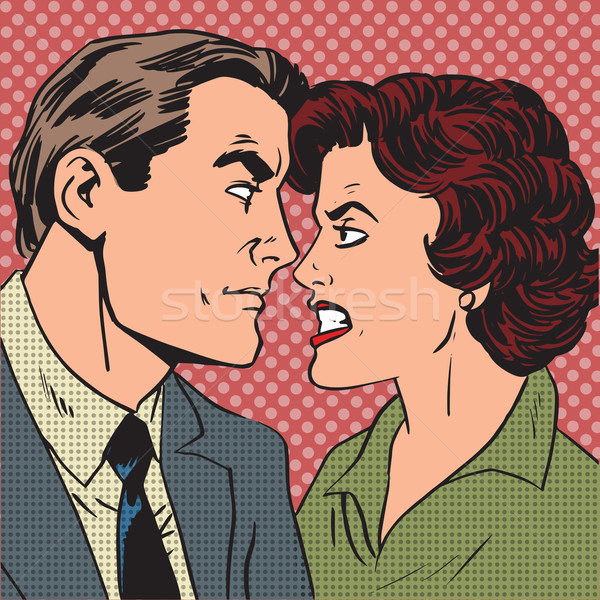 Conflict man woman family quarrel love hate pop art comics retro Stock photo © studiostoks