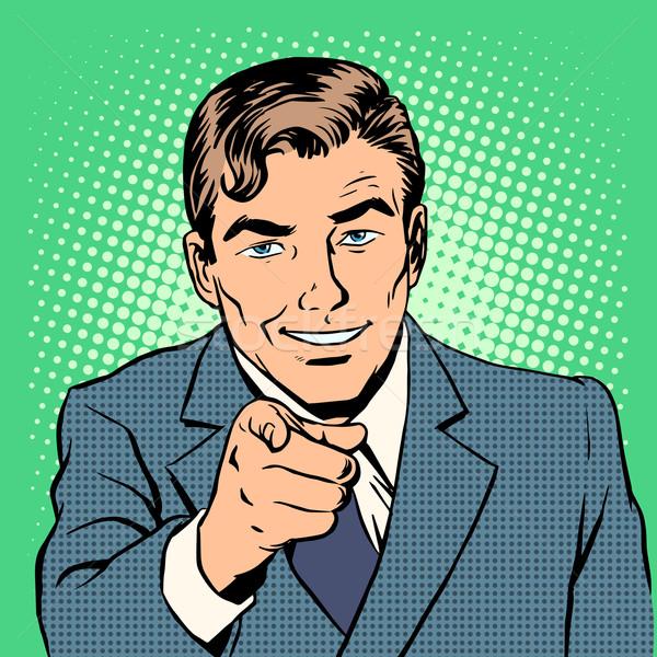 Homem indicação dedo estilo retro espera Foto stock © studiostoks