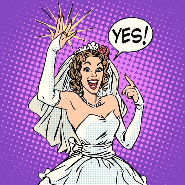счастливым невеста обручальное кольцо Поп-арт ретро-стиле Свадебная церемония Сток-фото © studiostoks