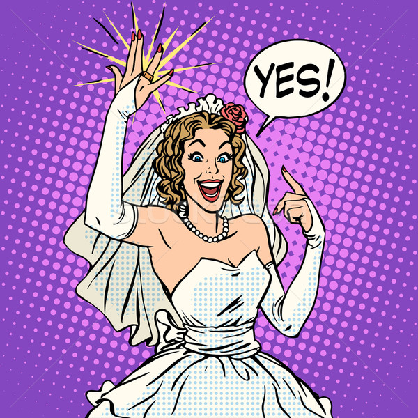 Heureux mariée alliance pop art style rétro Photo stock © studiostoks