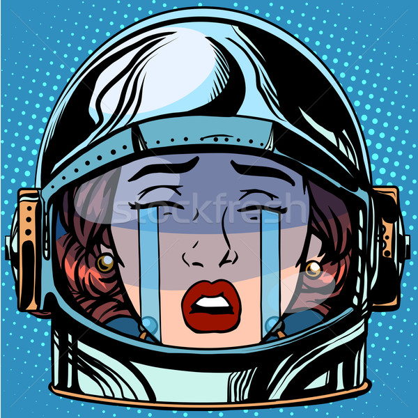 Emoticon huilen gezicht vrouw astronaut retro Stockfoto © studiostoks