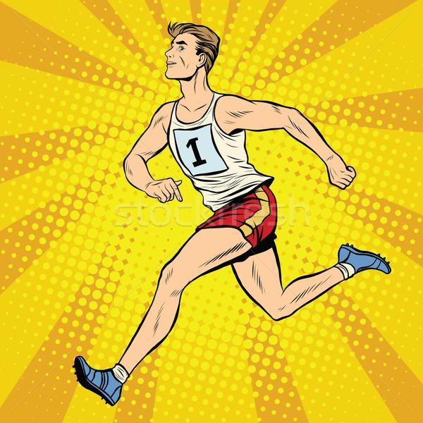 Läufer männlich Sommer Spiele Leichtathletik Pop-Art Stock foto © studiostoks